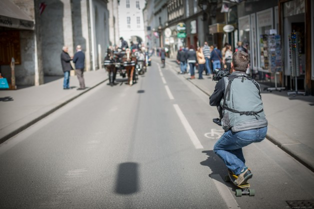 Shooting on a skateboard in Vienna, Austria during an incentive trip.