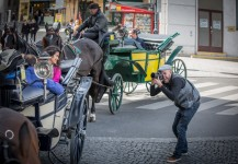 Ernesto Oehler photographing an incentive trip in Vienna, Austria.
