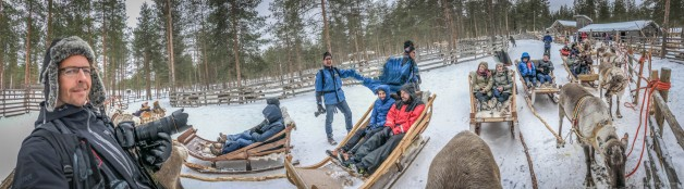 Mike Plonsky & Andy Molloy shooting a reindeer sledding in Lapland during an incentive trip.